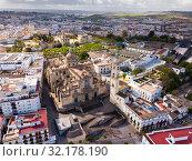 View from drone of Jerez de la Frontera with Cathedral and Moorish alcazar (2019 год). Стоковое фото, фотограф Яков Филимонов / Фотобанк Лори