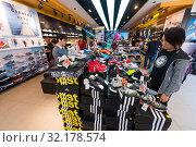 Купить «People at Adidas store downtown Hong Kong», фото № 32178574, снято 20 марта 2017 г. (c) Александр Подшивалов / Фотобанк Лори