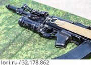 Купить «Russian rifle with under-barrel grenade launcher», фото № 32178862, снято 18 мая 2019 г. (c) FotograFF / Фотобанк Лори