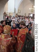 Купить «Праздничная литургия в Усово. VIII Елисаветинский Крестный ход», эксклюзивное фото № 32180010, снято 15 сентября 2019 г. (c) Дмитрий Неумоин / Фотобанк Лори