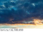 Купить «Небесный закатный пейзаж. Blue sky background - picturesque colorful clouds lit by sunlight, sunset evening view», фото № 32180650, снято 21 ноября 2018 г. (c) Зезелина Марина / Фотобанк Лори