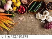 Купить «Autumn harvest flat lay with food», фото № 32180878, снято 13 августа 2019 г. (c) Wavebreak Media / Фотобанк Лори