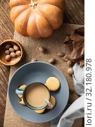 Купить «Autumn flat lay with soup and pumpkin», фото № 32180978, снято 13 августа 2019 г. (c) Wavebreak Media / Фотобанк Лори