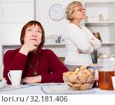 Купить «Frustrated elderly woman after quarrel with female friend», фото № 32181406, снято 22 ноября 2017 г. (c) Яков Филимонов / Фотобанк Лори