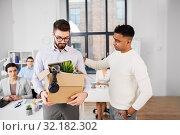 Купить «colleague seeing off sad fired male office worker», фото № 32182302, снято 23 марта 2019 г. (c) Syda Productions / Фотобанк Лори