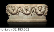 Picture of Roman relief sculpted Sarcophagus of Garlands, 2nd century AD, Perge. This type of sarcophagus is described as a 'Pamphylia Type Sarcophagus... Стоковое фото, фотограф Funkystock / age Fotostock / Фотобанк Лори