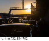 Купить «Cars on a sea freight ferry», фото № 32184702, снято 1 октября 2017 г. (c) Юрий Бизгаймер / Фотобанк Лори