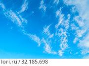 Купить «Небесный пейзаж. Синее небо.Blue sky background. Picturesque colorful clouds lit by sunlight. Picturesque sky view in bright tones», фото № 32185698, снято 22 июня 2018 г. (c) Зезелина Марина / Фотобанк Лори