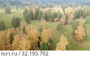 Купить «Aerial view of autumn forest. Fall landscape with red, yellow and green trees and fields with a mowed grass in sunny day», видеоролик № 32193702, снято 27 сентября 2018 г. (c) Куликов Константин / Фотобанк Лори