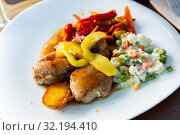 Grilled pork sirloin served with caramelized apple, stewed peppers and salad. Стоковое фото, фотограф Яков Филимонов / Фотобанк Лори