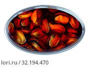 Купить «Canned seafood - mussels in oil», фото № 32194470, снято 19 октября 2019 г. (c) Яков Филимонов / Фотобанк Лори