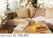 Купить «tea with lemon, book and cookies on table at home», фото № 32198450, снято 15 ноября 2017 г. (c) Syda Productions / Фотобанк Лори