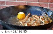 Купить «Dumplings baking on a cast-iron frying pan», видеоролик № 32198854, снято 14 апреля 2017 г. (c) Vasily Alexandrovich Gronskiy / Фотобанк Лори