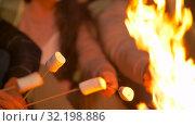 Купить «friends roasting marshmallow on fire at night camp», видеоролик № 32198886, снято 9 сентября 2019 г. (c) Syda Productions / Фотобанк Лори