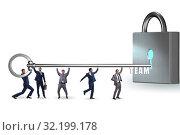 Купить «Concept of teamwork with businessmen unlocking lock», фото № 32199178, снято 6 декабря 2019 г. (c) Elnur / Фотобанк Лори
