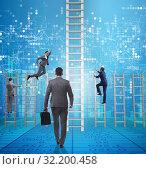 Купить «Competition concept with businessman beating competitors», фото № 32200458, снято 3 июля 2020 г. (c) Elnur / Фотобанк Лори