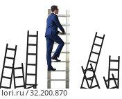 Купить «Career concept with businessman climbing ladder», фото № 32200870, снято 16 октября 2019 г. (c) Elnur / Фотобанк Лори