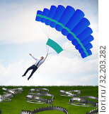 Купить «Businessman falling into trap on parachute», фото № 32203282, снято 19 октября 2019 г. (c) Elnur / Фотобанк Лори