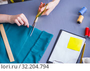 Woman tailor working on a clothing sewing stitching measuring fa. Стоковое фото, фотограф Elnur / Фотобанк Лори