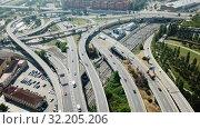 Купить «Image of car interchange of Barcelona in the Spain.», видеоролик № 32205206, снято 23 июня 2018 г. (c) Яков Филимонов / Фотобанк Лори