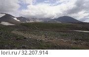 Купить «Active volcano landscape, geothermal clouds erupting from crater. Time lapse», видеоролик № 32207914, снято 16 сентября 2019 г. (c) А. А. Пирагис / Фотобанк Лори