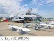 Купить «Российский многоцелевой истребитель палубного базирования МиГ-29К/КУБ на авиасалоне МАКС-2017», фото № 32208046, снято 20 июля 2017 г. (c) Виктор Карасев / Фотобанк Лори