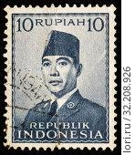 Купить «Почтовая марка республики Индонезия», эксклюзивное фото № 32208926, снято 1 февраля 2019 г. (c) Игорь Низов / Фотобанк Лори