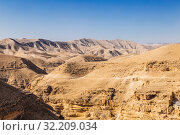 Купить «Иудейская пустыня с ущельем Вади Кельт, Палестинская автономия», фото № 32209034, снято 29 октября 2016 г. (c) Наталья Волкова / Фотобанк Лори