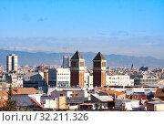 Купить «View of Barcelona downtown from hill Montjuic in sunny day», фото № 32211326, снято 21 января 2019 г. (c) Papoyan Irina / Фотобанк Лори
