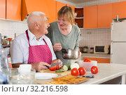 Купить «Senior couple cooking together», фото № 32216598, снято 17 августа 2019 г. (c) Яков Филимонов / Фотобанк Лори