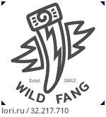 Купить «Wild Fang. Template emblem for sport or kids clothes, t-shirt decor. Vector», иллюстрация № 32217710 (c) Dmitry Domashenko / Фотобанк Лори