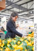 Купить «girl buying oranges and tangerines», фото № 32219278, снято 29 мая 2020 г. (c) Дарья Филимонова / Фотобанк Лори