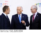 Купить «29.09.2011 Warsaw, Poland. Eastern Partnership Summit. Pictured: Jerzy Buzek, Donald Tusk, Herman van Rompuy», фото № 32220034, снято 22 октября 2019 г. (c) age Fotostock / Фотобанк Лори