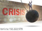Купить «Businessman in crisis management concept», фото № 32222570, снято 20 февраля 2020 г. (c) Elnur / Фотобанк Лори