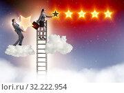 Купить «Businessman helping his woman colleague with promotion», фото № 32222954, снято 22 февраля 2020 г. (c) Elnur / Фотобанк Лори