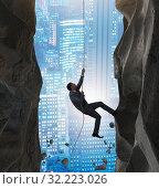 Купить «Businessman overcoming challenges in business concept», фото № 32223026, снято 11 декабря 2019 г. (c) Elnur / Фотобанк Лори