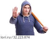 Купить «Young man hooligan with baseball bat isolated on white», фото № 32223874, снято 7 февраля 2017 г. (c) Elnur / Фотобанк Лори