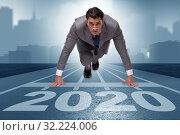 Купить «Businessman in new year 2020 concept», фото № 32224006, снято 20 января 2020 г. (c) Elnur / Фотобанк Лори