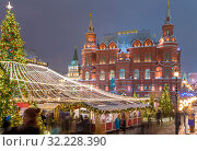 Купить «Christmas (New Year holidays) decoration in Moscow (at night), Russia-- Manege Square near the Kremlin», фото № 32228390, снято 12 января 2019 г. (c) Владимир Журавлев / Фотобанк Лори