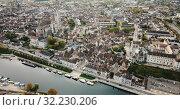 Купить «Image of aerial view with river of famous old town Auxerre in France», видеоролик № 32230206, снято 25 октября 2018 г. (c) Яков Филимонов / Фотобанк Лори