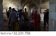 Купить «Sevastopol, Crimea - July 3, 2019. Peple in Konstantinovskaya Battery - Museum and Exhibition Complex», видеоролик № 32231758, снято 3 июля 2019 г. (c) Володина Ольга / Фотобанк Лори