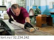 Купить «Positive craftsman working on a thicknessing machine», фото № 32234242, снято 25 февраля 2020 г. (c) Яков Филимонов / Фотобанк Лори