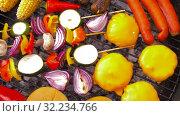 Купить «barbecue kebab meat and vegetables on grill», видеоролик № 32234766, снято 20 сентября 2019 г. (c) Syda Productions / Фотобанк Лори