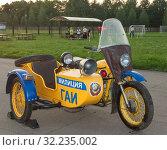 Старый советский милицейский мотоцикл с коляской (2019 год). Редакционное фото, фотограф Наталья Николаева / Фотобанк Лори