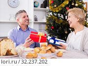 Husband and wife exchange holiday gifts for Christmas and New Year. Стоковое фото, фотограф Яков Филимонов / Фотобанк Лори