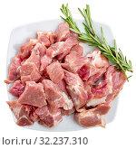 Купить «Uncooked chopped pork for stew», фото № 32237310, снято 22 октября 2019 г. (c) Яков Филимонов / Фотобанк Лори
