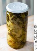 Купить «Pickled swiss chard with spices in glass jar on a wooden table», фото № 32237454, снято 13 декабря 2019 г. (c) Яков Филимонов / Фотобанк Лори