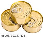 Купить «Close-up of metal bronze tin can on white background», фото № 32237474, снято 18 октября 2019 г. (c) Яков Филимонов / Фотобанк Лори