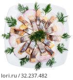 Купить «Fillet herring with dill and lemon», фото № 32237482, снято 23 октября 2019 г. (c) Яков Филимонов / Фотобанк Лори