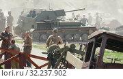 MINSK, BELARUS - JULY 03, 2019: WWII historical military reconstruction battle. Редакционное видео, видеограф Dzmitry Astapkovich / Фотобанк Лори